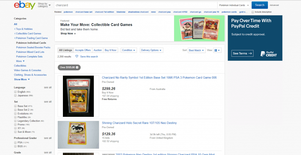 pokemon cards on ebay