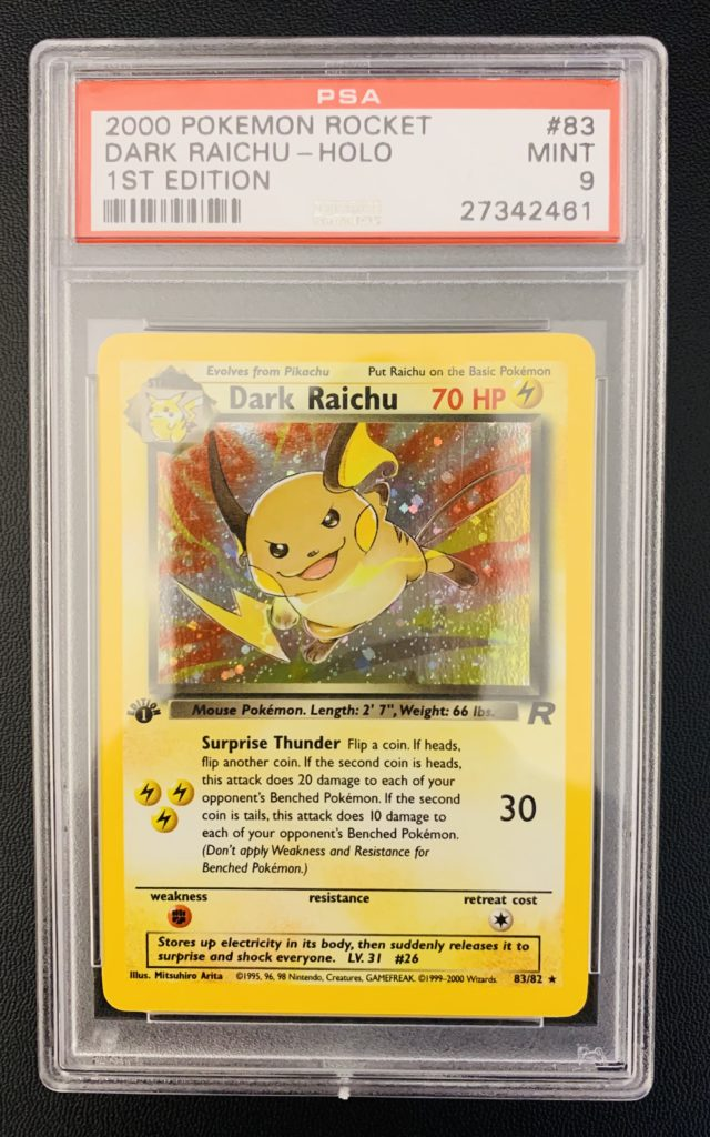 psa graded pokemon card - 1st edition dark raichu psa 9